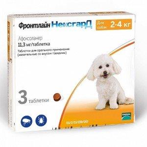 Merial NexGard - жевательные таблетки НексГард против блох и клещей Вес 2 - 4 кг, одна таблетка (50118)