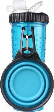 Dexas - бутылка двойная Дексес для воды и корма или лакомств со складной миской голубая (dx30759)